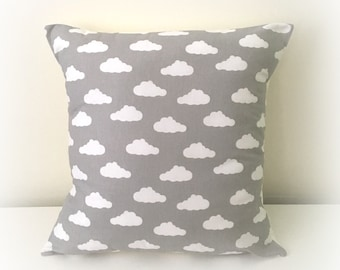"Grey & White Cloud Cushion Cover Pillow Nursery 12"" or 16"""