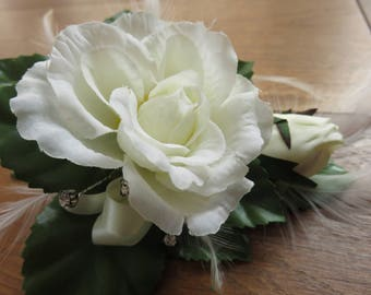 Ivory Rose Flower Corsage. Weddings, Proms and Events.