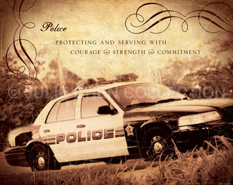 Police Gift - Police Art - Police Quote - Police Home Decor - Police Retirement Gift - Inspirational Art - Motivational Quote - Job - Career