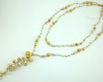 Yellow freshwater pearl,agate on silk thread necklace.