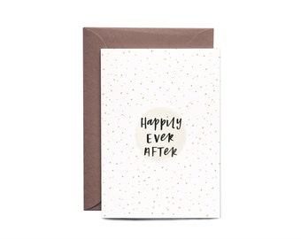 Happily Ever After Confetti Hand Lettered Wedding Greeting Card