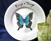 Sale Ring Dish Jewelry Keys Hand Painted Butterfly Ceramic Porcelain B