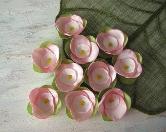 Fabric flower appliques, satin rose flower embellishments, floral appliques, pink fabric flowers for crafts (10pcs)- APPLE TREE BLOSSOMS