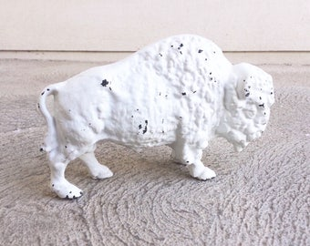 1930s Art Smithy White Buffalo Cast Iron Coin Bank.Collectible Bison Metal Art Figurine Statue.Rare Hard to Find Rustic Decor Buffalo Gift