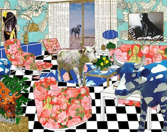 Chicago Cow House #5 - Original Collage Art Limited Edition Print