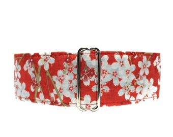 Red Cherry Blossom Martingale Collar, 2 inch Martingale Collar, Windhunde, Cherry Blossom Dog Collar, Custom Dog Collars, Wide Dog Collar