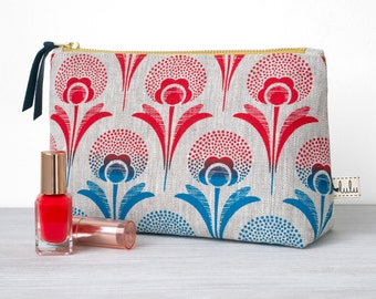 Large makeup bag, cosmetic bag with ombre dandelion print