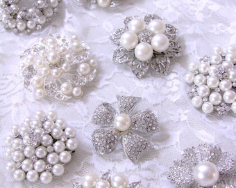 3 Assorted Large Silver Base  Rhinestone Pearl Brooches with Pin- Brooch Bouquet/Jewelry/Bridal Brooch/Wedding Accessories/Craft Supply