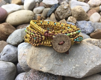 Leather Macrame Wrap Bracelet