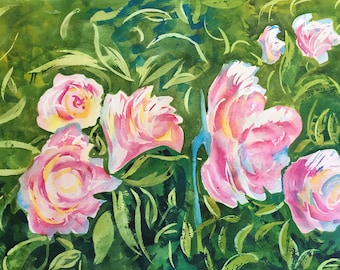 Peony Garden Original Watercolor Painting Floral Art, Office Decor, Bedroom Decor, Bathroom Decor, Nursery Decor Watercolour Art