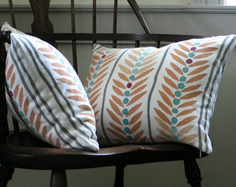 Hand Printed Pillow Covers - Block Printed Pillow Cover - Two Pillow Covers - Hand Blocked Pillow Covers - Cushion Covers - Throw Pillows