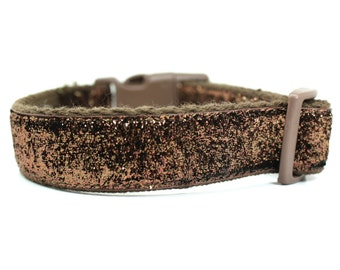 Brown Glitter Dog Collar - Brown Dog Collar - Glitter Dog Collar - Girl Dog Collar - Female Dog Collar - Boy Dog Collar - Sparkle Dog Collar