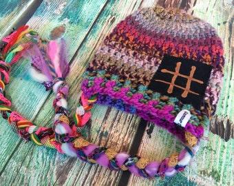 Crochet Slouch Boho Baby Beanie Fits 0-6mo