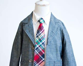 Necktie, Neckties, Boys Tie, Boys Necktie, Baby Tie, Baby Necktie, Baby Neckties, Wedding Ties, Ring Bearer, Ties - Red, Navy, Green Plaid