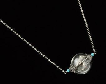 Dandelion Necklace, dandelion seed glass orb, wish necklace, terrarium pendant, silver filigree & turquoise necklace bridesmaid jewelry 2602