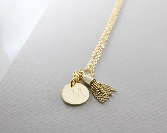 Custom Initial Tassel Necklace   Tassel Necklace   Disc Necklace   Initial Necklace   Mothers Day Gift   Disk Necklace   Dainty Necklace