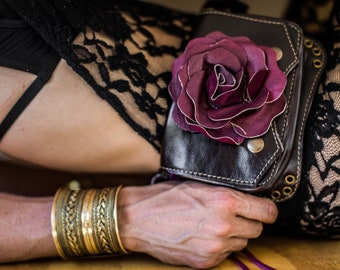 Brown and purple leather rose utility belt