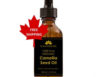 100% Pure Organic Camellia Seed Oil 100 ml - FREE SHIPPING - Silky Skin, Hair Conditioner, and Nail Strengthener