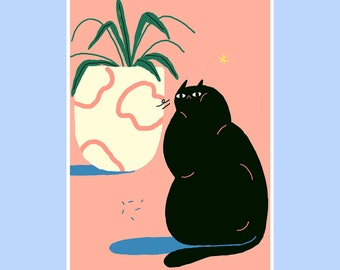 Fat Cat Still Life A3 Risograph Print