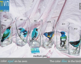 The color blue in the birds, hand painted glassware, set of artistic glasses