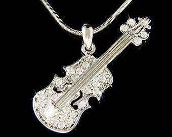 Swarovski Crystal Violin Viola Cello Fiddle Musical Charm Pendant Necklace Christimas Best Friend Musican Gift  New
