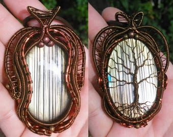 Labradorite wirewrapped reversible tree of life pendant necklace