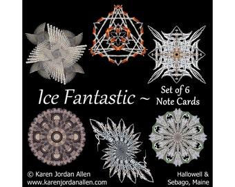Ice Mandala Note Cards Boxed Set of 6 ~ Nature mandala cards ~ Kaleidoscope photo art designs