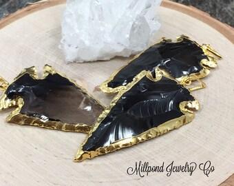 Black Obsidian Arrowhead Pendant,  Black Arrowhead Pendant, Arrowhead Pendant, Black Arrowhead, Gold Plated, PG2407