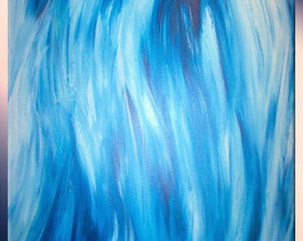 Original Art / Blue and White Painting / Abstract Blue / Ocean Wind Painting / Fine Art by LaffertyArt / Artwork On Sale / Gift For Dad