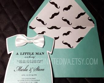 Little Man Baby Shower Invitation II, Bow Tie Baby Shower Invite, It's a Boy Baby Shower, Baby Shower Invite, Onesie Invite
