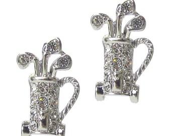 Whitegold plated Golf earrings