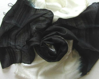 Black White Silk Shawl Handwoven Pure Raw Silk Accessories Wedding Shawl Bridesmaid Gift For Her Hand Dyed Wedding Gift Handmade Accessories