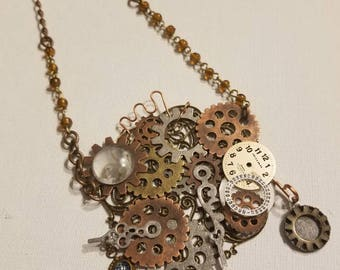 Steampunk Necklace, Mixed Metals, Parts, Watch Face, Charms, Retro Piece, Copper, Silver, Brass, Gears, Steampunk Bib Necklace