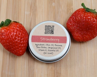 Strawberry Beeswax Lip Balm Tin