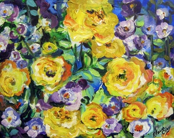 Yellow Roses Original landscape painting 16 x 20 Art by Elaine Cory