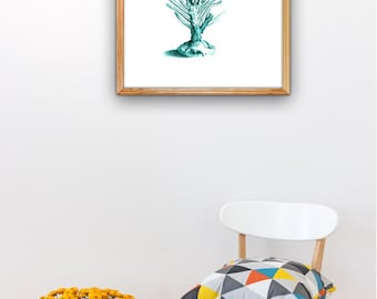 Turquoise Sea fan coral A3 plus sized  Poster Art Antique Illustration coral poster. sea life print, Beach house  SWC093A3P