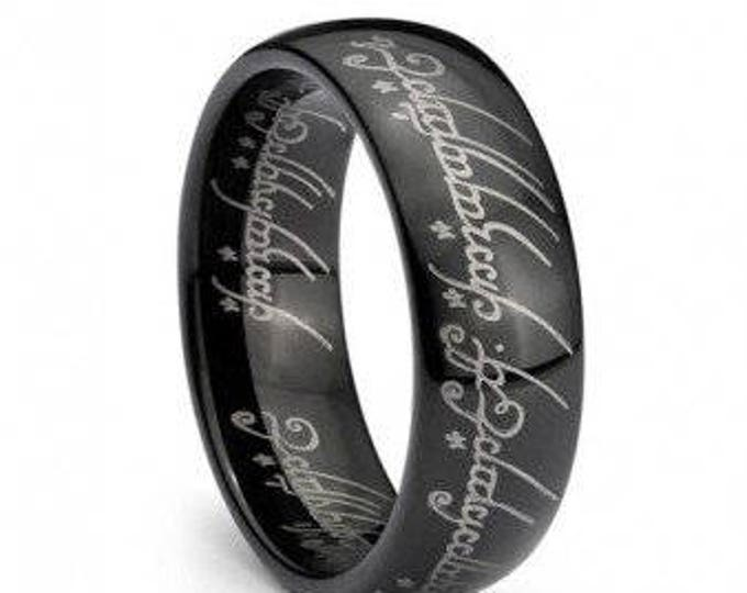Personalised Wedding Band Ring Elvish Script 18K Gold Plated -Black Plated- Silver Colour Tungsten Carbide Men & Women Laser-etched - 7mm