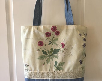 Avery Bag - Recycled Denim - Light Blue denim, Multi-Colored Floral, Green and Cream Trim