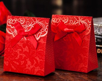 100 Red Floral Lace Pattern Favor Boxes