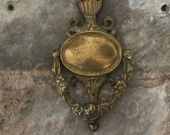 Shabby Chic Antique Door Knocker English Barbola Solid Brass Roses And  Garlands Paris Decor
