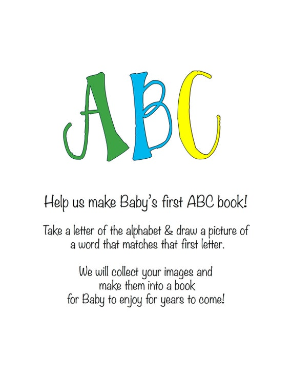 INSTANT DOWNLOAD: Baby Shower Activity ABC book