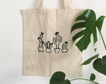 Millie Tote, tote bag, cactus bag, cacti bag.