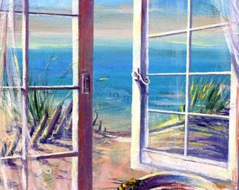 TBC4 (Tea, Bee, Sea), A4 Fine Art Landscape/Seascape/Still Life Painting Print