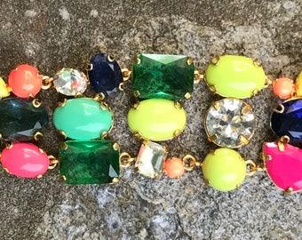 J. Crew Glam Bracelet - Multi-Color/Size Cabochons & Rhinestones - Free US Shipping - Vintage - Fabulous!