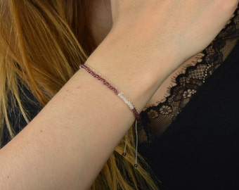 Garnet bracelet & Moonstone, and fine chain Silver 925