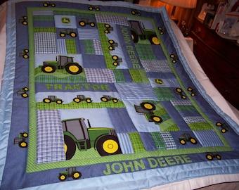 Handmade Baby John Deere Tractors Cotton Baby/Toddler Quilt-NEW 2018