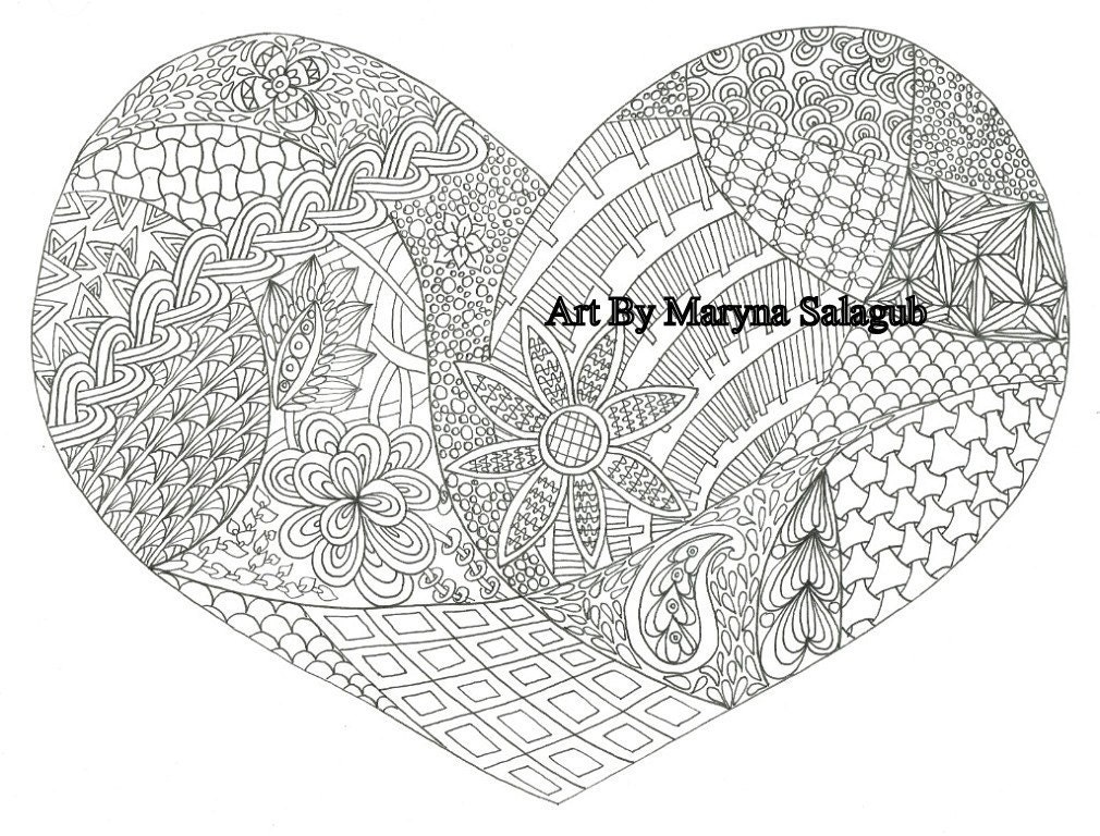 Coloring page heart love valentine\'s day card Printable