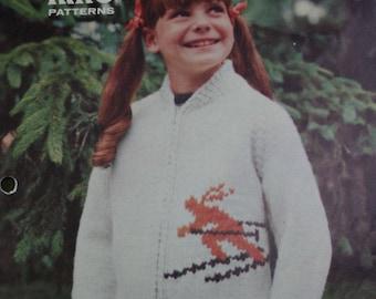 Ski Cardigan Sweater Pattern Children Sizes 6 - 8 - 10 King Patterns 4000 Bulky Weight Yarn Skier Jacket Boy Girl Paper Original NOT a PDF