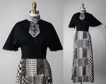 1970s vintage dress | vintage maxi dress | patchwork maxi dress | long cotton dress | novelty print dress | atomic pattern dress