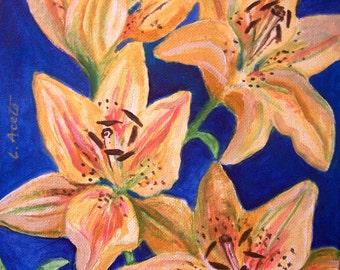 Été Lillies, nature morte acrylique 8 x 10